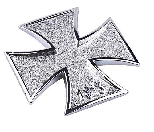 Shop of Wonder© │ hochwertiger 3D Metallaufkleber in Silber Eisernes Kreuz Preußen 1813 │ ideal geeignet für Ihr Fahrzeug │ universell einsetzbar bei Einer Größe von 6cm