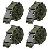 MAGARROW 200cm 2.5cm スーツケースベルト トランクベルト 荷物ロックベルト 梱包バンド 調整可能 (グリーン - 4枚入り)