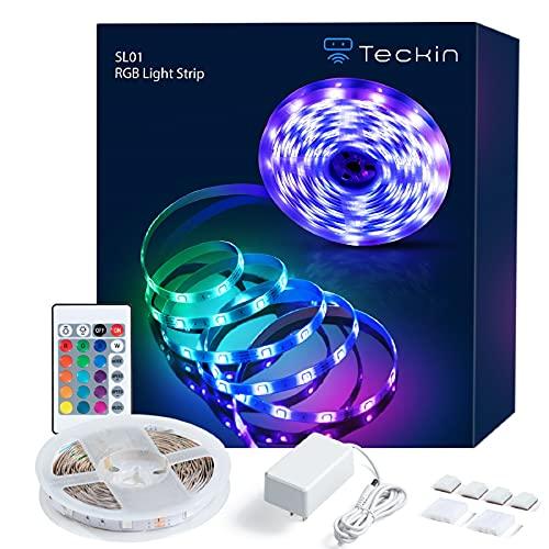 TECKIN LED Strip 5 m, LED Streifen RGB, Farbwechselnder Strip mit Infrarot-Fernbedienung, Lichtband Selbstklebend, LED Leiste, Wohnzimmer, Schlafzimmer, Küchen Lichtleiste
