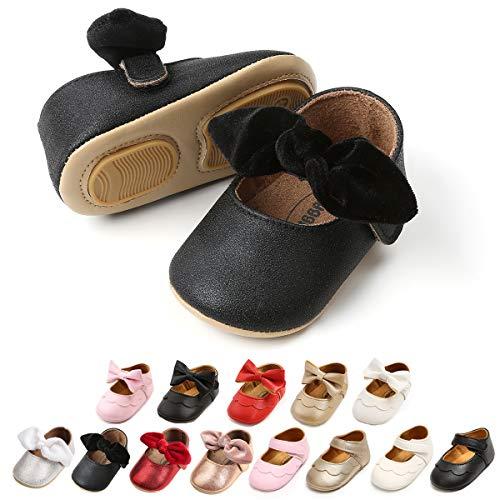 Sapatos infantis infantis para meninas com sola macia princesa Mary Jane sapatos pré-andadores sapatos de casamento para berço, 1829 Black, 12-18 Months Infant