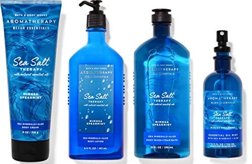 Bath and Body Works Aromatherapy Ocean Essentials Sea Salt - Deluxe Gift Set - Sea Minerals + Aloe Body Lotion - Body Cream - Essential Oil Mist and Body wash + Foam Bath - Full Size