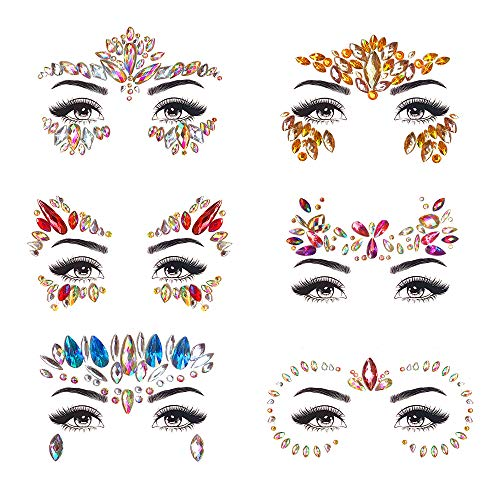 ZLXIN Face Gems Temporary Tattoo Stickers Acrylic Crystal Glitter Stickers Waterproof Face Jewels Rainbow Tears Rhinestone Eye Decoration for Party, Rave Festival, Dress-up (6 Pcs A Set) (Face gems-1)