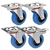 Yaheetech 4Ruote Rotelle per Carrello Spesa Mobili da 100 mm Girevoli con Cuscinetti 2 c...