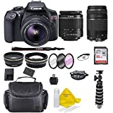 Canon EOS T6 SLR Camera w/EF-S 18-55mm F/3.5-5.6 III Zoom Lens+Canon EF-S 75-300 Lens+ Case+ Full Tripod+ 32gb+ More + TopKnotch Deals Cloth (International Model) Bundle