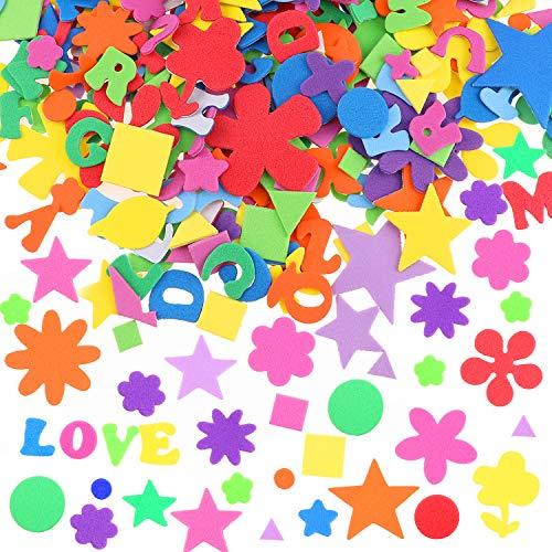 HOWAF 580 Stück Schaumstoff Sticker Selbstklebendes für Kinder & Kleinkinder, Buchstaben Blume Geometrische Sternform Schaumstoff Aufkleber 3D Aufkleber Geschwollen Stickers für Jungen Mädchen