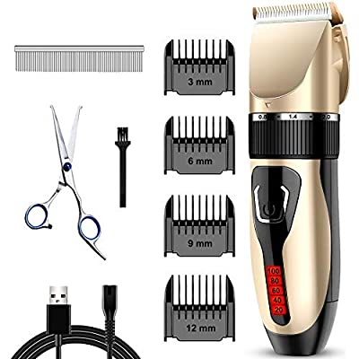 Comsmart Dog Clippers, Upgraded Dog Grooming Clippers Dog Hair Trimmer Cordless Low Noise Rechargeable Electric Quiet Pet Hair Clippers Set for Cats, Dogs, Other Pets by Xinxiang Hualing Power Supply Manufacturing CO.,Ltd
