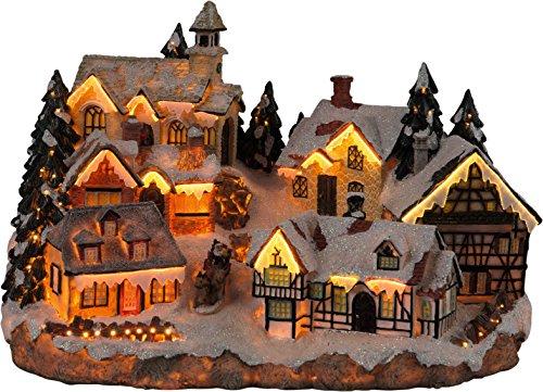 insatech Weihnachtlich beleuchtetes Bergdorf mit Fiberoptik und Farbwechsel Weihnachtsdorf