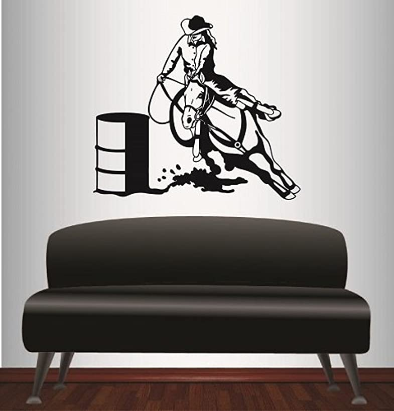 In-Style Decals Wall Vinyl Decal Home Decor Art Sticker Cowgirl on Horse Barrel Racing Riding Woman Girl Western Removable Stylish Mural Unique Design for Any Room 261