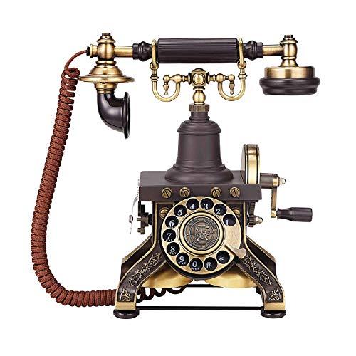 MEETGG Teléfonos Antiguos con Cable Línea Fija Teléfono Vintage Clásico Rotary Dial Home Phone Old Fashion Teléfonos Inicio Oficina Decoración Decoración Líneas fijas