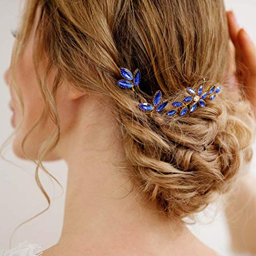 Yean Baroque Bridal Hair Pins Blue Rhinestones Wedding Hair Comb Something Blue Hair Piece for Women and Girls(3 Pcs)