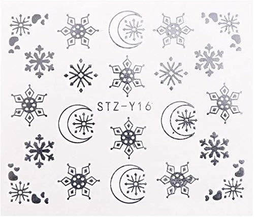 SRTYH Autocollant d'ongle 2 Pcs Or Argent Conception Nail Art Autocollants Hiver Fleur Curseurs Eau Stickers pour Ongles Manucure Outil-B