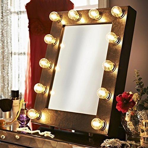 De Broadway Faux lederen zwart verlichte Hollywood theater make-up spiegel licht dressing kamer tafelblad of muur Mount