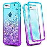 Ruky iPhone 7 8 Case, iPhone SE 2020 Case, Full Body iPhone 6 6s Case for Girls Clear Glitter Liquid Cover with Built-in Screen Protector Shockproof Phone Case for iPhone 6/6s/7/8/SE 2020, Teal Purple
