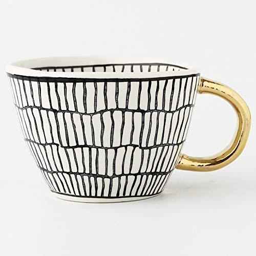 WLCO Cerámica geométrica Creativa Tazas de cerámica con Mango de Oro Tazas de café Hecho a Mano Geometría Multi-Uso Irón de té de Forma Irregular Irregular Taza Taza Taza Copa Decoración del