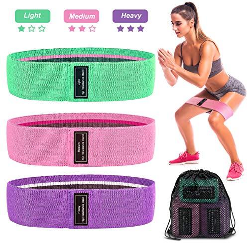 AODOOR Resistance Hip Bands, Fitnessbänder Widerstandsbänder Trainingsbänder Set mit 3 Verschiedene Zugfestigkeit-Stärken Yogagurt für Muskelaufbau Pilates Yoga Kniebeugen Kreuzheben