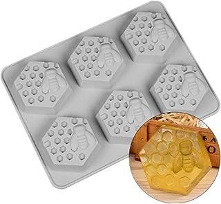 Voarge silikonowe foremki do mydła, 6 otworów w kształcie pszczół i plastra miodu, do mydła, ręcznie wykonane, do czekolad...