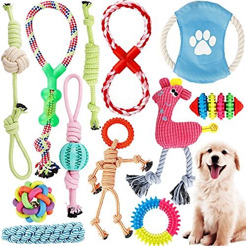 Giocattoli Per Cani, Corde Per Cani(Set da 12 pezzi), Giocattoli Interattivi per Cani di Diversi Colori e Forme Adatti a Cani di Taglia Grande, Media e Piccola )