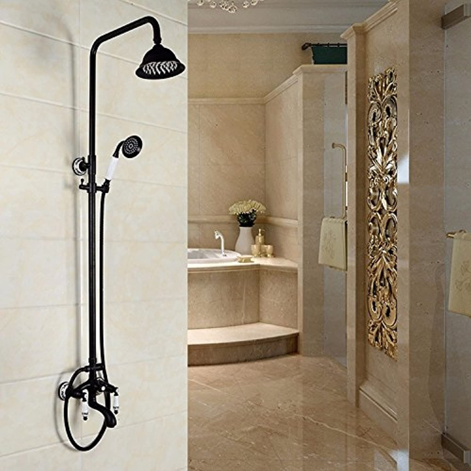 Wall-mounted redatable belt lift all copper antique pull shower shower faucet