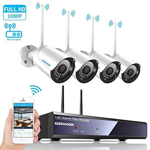 Cámara Vigilancia WiFi 1080P Sistema Kit, SZSINOCAM Camara IP con Visión Nocturna, Detección De Movimiento, Alarma por Correo Electrónico, Impermeable IP66, 4 Videocámaras para Exteriores