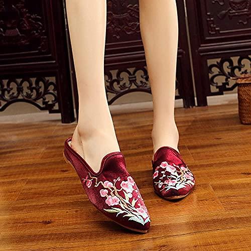 RHH Shop Pantuflas bordadas de algodón de seda con punta cerrada para mujer, verano, otoño, zapatos planos (color: rojo vino, tamaño: 6 UK)