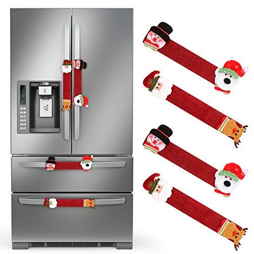 4pcs Decoración de Refrigerador Navideña, Decoración Navidad de Cocina Fundas para Tirador Puerta Frigorifico con Forma de Papá Noel y Alces, Cubiertas de Tirador Frigorifico (rojo)