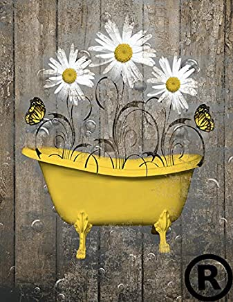 Yellow Brown Rustic Bathroom Wall Art, Daisy Flowers, Butterflies, 8x10 Picture with 11x14 White Mat *Goes inside a 11x14 inch Picture Frame