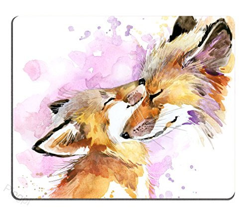 Pingpi Portable Mouse Pad Custom,Watercolor Fox and Baby Fox Mouse Pad Personalized Design Non-Slip Rubber Mousepad