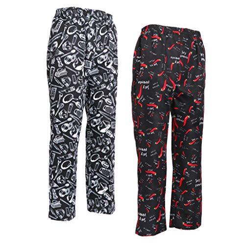Bonarty 2x Pantaloni da Cuoco Stampe da Cucina Uniche e Divertenti Cintura Elastica per Donne Uomini