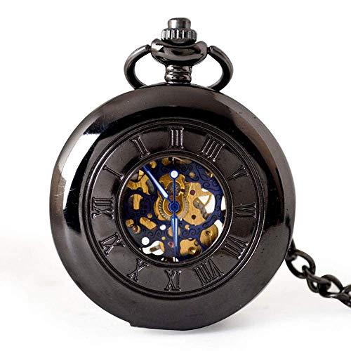 DHRH Herren Taschenuhr mit Kette, Taschenuhr Roman Retro Vintage Quarz, römische Ziffern Steampunk Uhr zum Geburtstag Jubiläumstag