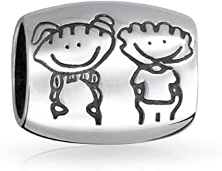 Bff Happy Friendship Cartoon Family Brother Sister Charm Bead For Women Teen 925 Sterling Silver Fits European Bracelet
