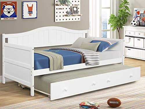 Twin Daybed with a Trundle Wood Frame Captain's Bed with Roll Out Bed No Box Spring Needed Wood Slat Support, Kids Teens Adults Dual-use Sturdy Sofa Bed for Bedroom Living Room (White)