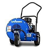 Landworks Leaf Blower Super Duty Wheeled Walk Behind Jet Sweep Manual-Propelled Powerful 7HP 212cc 4 Stroke OHV Motor Output Wind Force of 200 MPH / 2000 CFM at 3600RPM use for Garden & Lawn