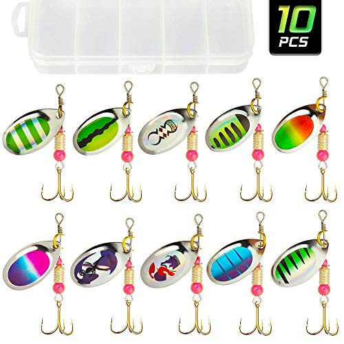 Akataka Spinnerbaits 10Pcs w/ ackle Box, Colorful Hard Metal Baits Fishing Lure Kit Set w/ Bass Trous Salmon Walleye, Freshwater & Saltwater Fishing Lure, Idal For Begginners And Experienced.(Style A)