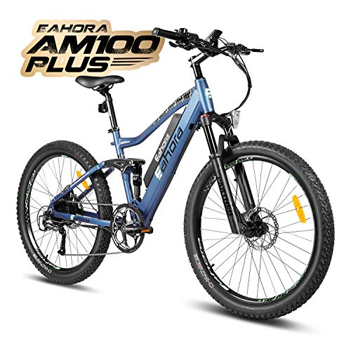 eAhora AM100 Plus 27.5 Inch Electric Mountain Bike Dual Hydraulic Brakes Full Air Suspension Electric Bicycle 48V 350W 10.4Ah Ebike Power Regeneration Tech 9 Speed Color Screen Navy