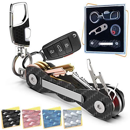 Carbon Fiber Key Organizer - Premium Heavy-Duty Compact Key Holder UP to 18 Keys -B0NUS Smart Key Ring, Loop Piece for Belt or Car Keys - SIM & Bottle Opener + Video Instructions