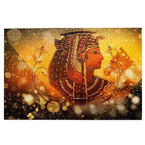 Popsastaresa Puzzles 1000 Stück,Alte ägyptische Ägypten Königin Frauen unter Pyramide Ägypten Piktogramm auf Golden Bling Glitter, Große Familie Puzzle-Spiel Artwork für Erwachsene Jugendliche