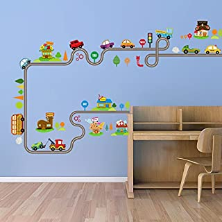 Holly LifePro Cute Cartoon Kids Room Wall Decal DIY Vinyl City Car Circled Curved Road Wall Stickers Decor for Children Ba...