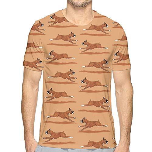 Running Boxer Dog - Camiseta de manga corta para hombre, cuello redondo, suave, de secado rápido, informal, de verano blanco Talla única