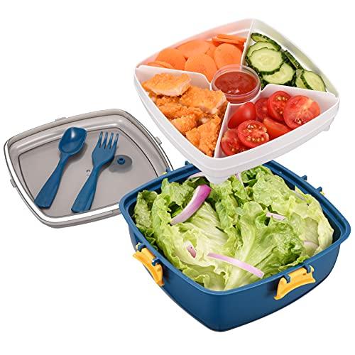 Contenitore per insalata senza BPA con ciotola da 52 once, 4 vassoi per condimenti per insalata e snack, contenitore per salsa da 2 once e forchetta riutilizzabile incorporata (azul)