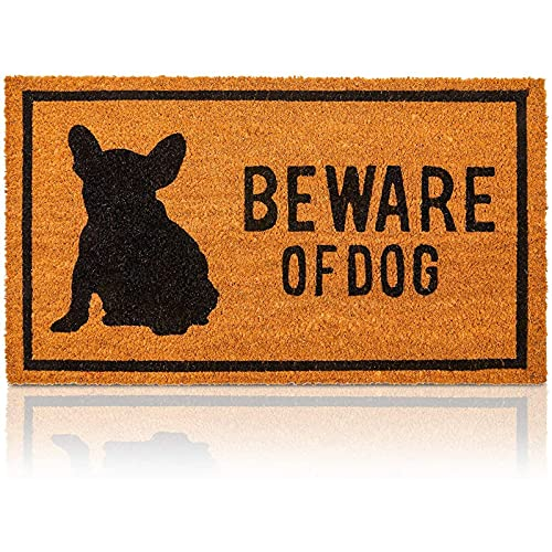 Frenchie Beware of Dog Natural Coco Coir Mat, Nonslip Welcome Doormat (17 x 30 in)