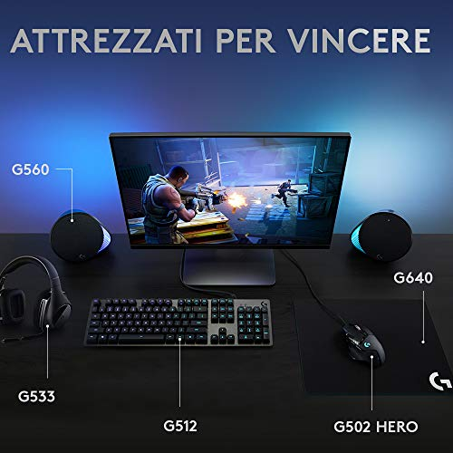 Logitech G512 Tastiera Gaming Meccanica, RGB LIGHTSYNC, Tasti Retroilluminati, GX Brown Tactile Switch, Telaio in alluminio spazzolato, Tasti Personalizzabili, USB, QWERTY Layout Italiano, Nero