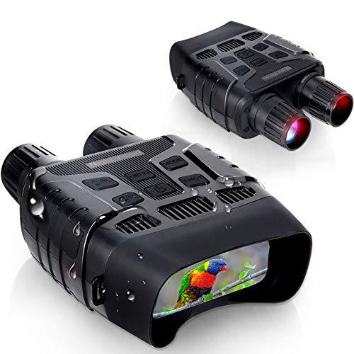 Binoculares Visión Nocturna Hollee Prismáticos de Infrarrojos Distancia de 300m en Completa Oscuridad HD Digital Binoculares Pantalla 2,31' LCD con Tarjeta de 32G para Caza Vida Salvaje
