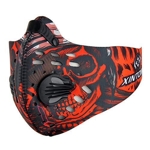 Alimagic Trainingsmaske, Mundmaske Sportmaske, Staubmaske aus Gummi, Aktivkohlefilter-Abgas-Anti-Pollen-Allergie, geeignet für Motorrad-Mountainbike-Laufen (Bunte Rot)