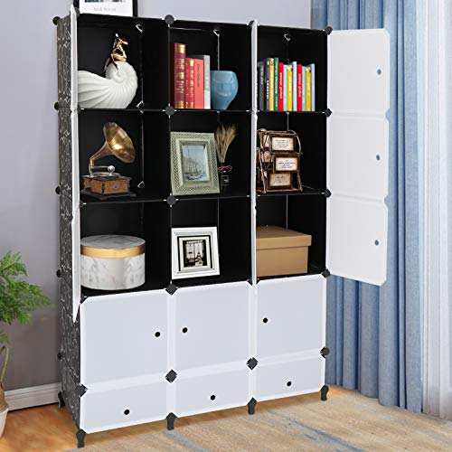 VINGLI Cube Storage Organizer Plastic Closet Cabinet DIY Plastic Modular Book Shelf Unit Cube Shelves with Doors and Hanging Rods12 Cubes