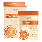 AZURE Vitamin C & Collagen Moisturizing Sheet Face Mask - Brightening, Restoring & Hydrating | Reduces Creases, Fine Lines & Wrinkles | Diminishes Signs of Aging | Made in Korea - 5 Pack
