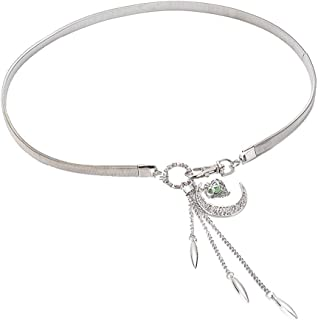SGJFZD Moon Hook Gold and Silver Pendant Waist Chain Fashionable with Skirt Belt Sweater Waist Chain Spring and Summer New (Color : Silver, Size : 62cm)