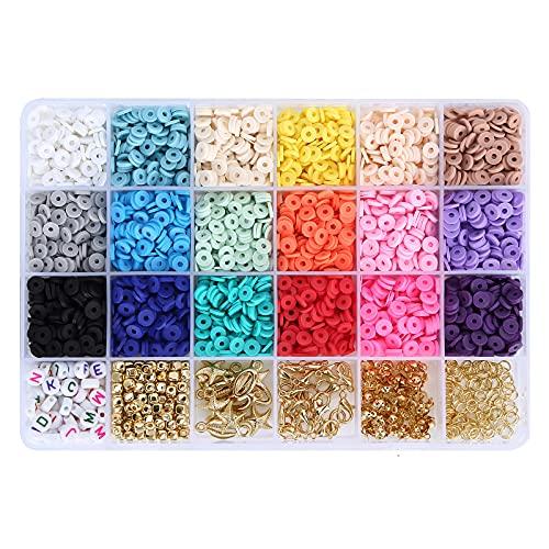 Cuentas de arcilla para enhebrar y hacer joyas, juego de 18 colores, con 2 rollos de cuerda elástica, para manualidades, pulseras, pendientes, collares, fabricación de joyas, para niños (6 mm)