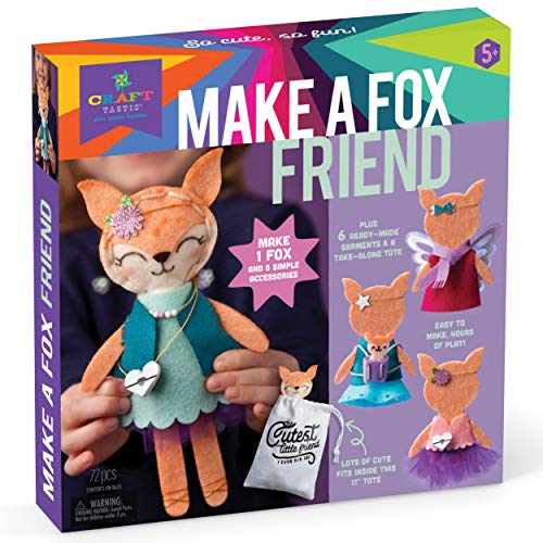 Craft-tastic – Make a Fox Friend Craft Kit – Learn to Make 1 Easy-to-Sew Stuffie with Clothes & Accessories