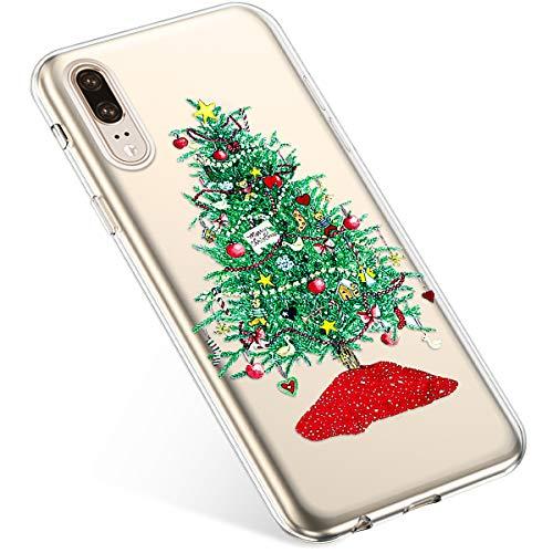 Uposao Kompatibel mit Handyhülle Huawei P20 Hülle Transparent Silikon Ultra Dünn Schutzhülle Durchsichtig Handyhülle Kristall Weiche Silikon TPU Handytasche Rückschale,Grün Weihnachtsbaum