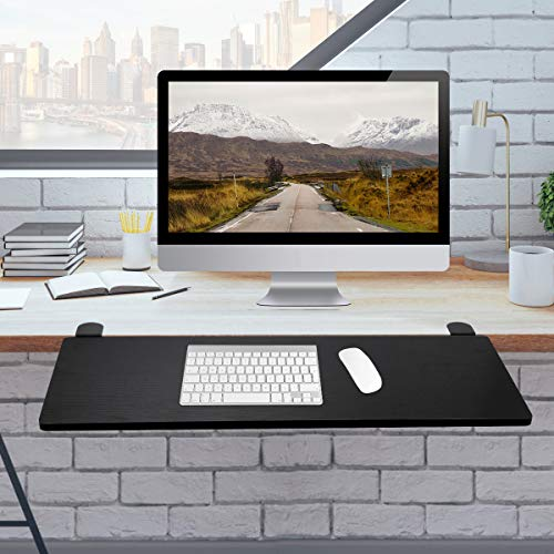 Clamp-On Keyboard Tray, Ergonomic Desk Extender Tray, Under Desk Computer Keyboard and Mouse Platform Tray, Table Mount Armrest Shelf Stand Wristrest Pad Computer Elbow Arm Support (Black)